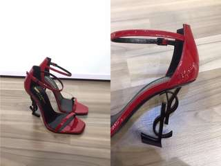 YSL OPYUM 110 SANDALS IN RED PATENT LEATHER AND BLACK METAL 可免費陪同到專門店驗貨