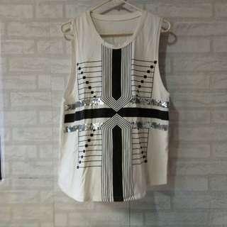 Fashionable sequins sleeveless