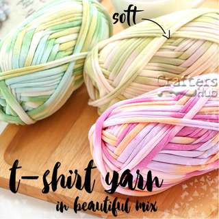 🚚 T-shirt yarn / Fabric yarn (MIX COLOUR) for crochet knitting macrame bag mat