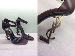 YSL OPYUM 110 SANDALS IN BROWN LEATHER AND GOLD-TONED METAL 可免費陪同到專門店驗貨
