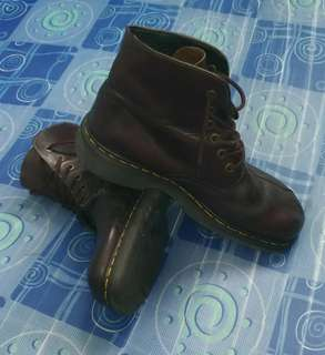 Dr Martens Brown Leather 6-Eye Ankle Boots Size 11 Made In England