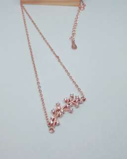 Tree branch rose gold 925 silver sterling necklace