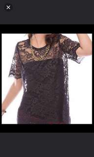 (NEW) Black Lace Top