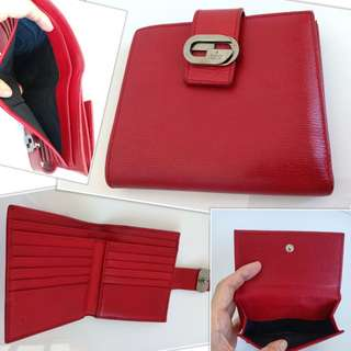Excellent Preloved Authentic Gucci Wallet Red 3 Fold