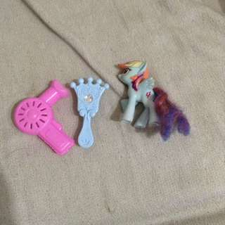 Barbie doll hair dryer and brush free-rainbow dash pony