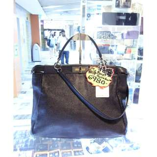 Fendi Black Leather Classic Peekaboo Pee Ka Boo Shoulder Handbag Hand Bag PHW 芬迪 黑色 牛皮 皮革 經典款 手挽袋 手袋 肩袋 袋