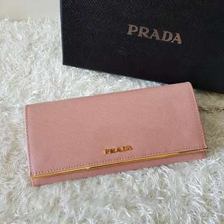 Authentic Prada Saffiano Leather Flap Wallet with Metal Bar Detail 1MH132