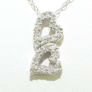 0.18 cts - 18k Diamond Necklace (Twin Hearts)