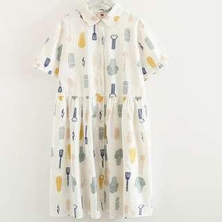 💛快速到貨💛日系森林系古著超可愛印花小洋裝
