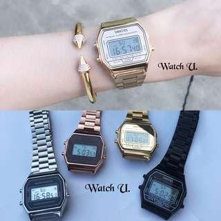 🚚 潮男潮女必備復古方型電子錶