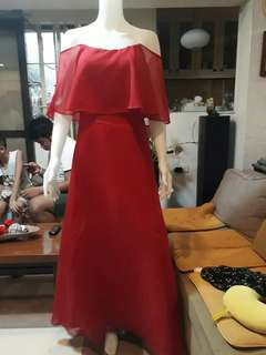 Red loose off shoulder gown for rent/ sale