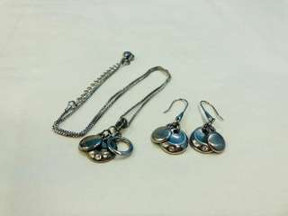 Rhodium Silver Necklace and Earrings