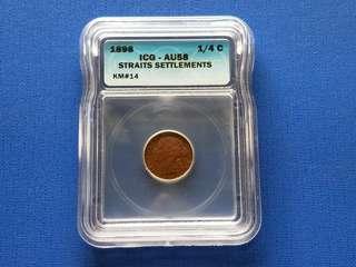 1898 Strait settlement Queen Victoria quarter cent coin  ICG  graded AU 58