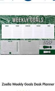 Zoella Weekly goals desk planner