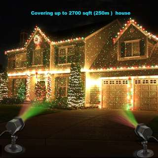 324. Laser Christmas Lights, InnooLight Outdoor Christmas Laser Lights Show, Red and Green Starry Christmas Lights Projector, Laser Holiday Lights with RF Remote for, Outdoor, Garden, Halloween Decoration