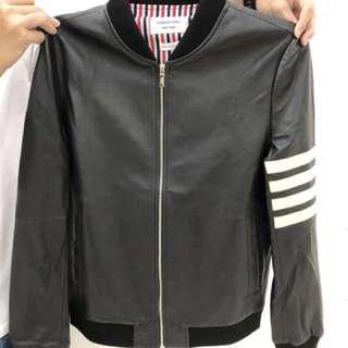 1b974e51538 Thom Browne black leather jacket