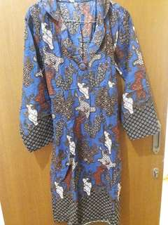 Prwloved Midi Dress Batik Biru Fit to L Mat Katun