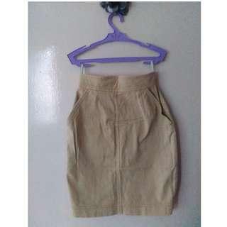 Melrose Khaki Brown Denim Skirt