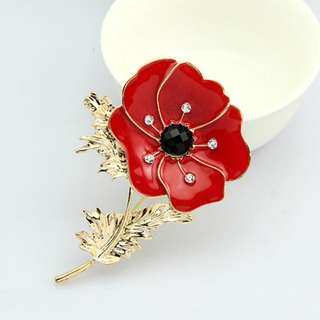 Hari Raya Gift - Red Poppy Flower Crystals Collar Scarf Bag Pin Brooch
