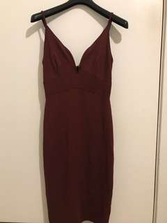 Maroon low v neck dress