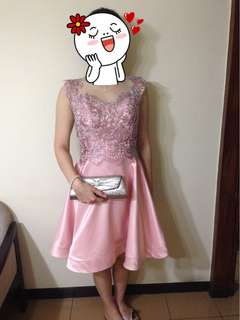 Pink short gown lace