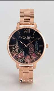 Olivia Burton Dark Bouquet Bracelet Watch In Rose Gold