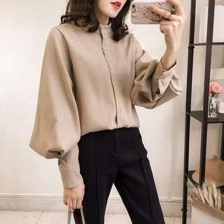 Khaki bell sleeve blouse