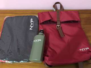 NYP haversack bag with laptop case & water bottle
