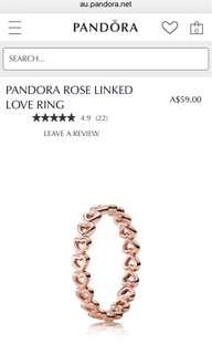 Pandora Rose Linked Love Ring Size 50