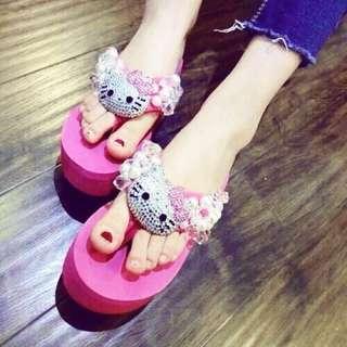 🚚 Hello Kitty氣質水鑽厚底拖鞋38號