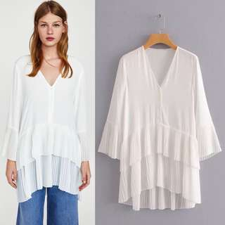 2018 European station with pleated blouse dress women's white dress
