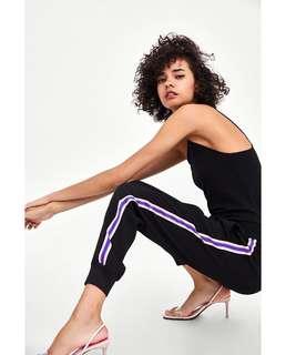 🚚 OshareGirl 05 歐美女士高腰鬆緊純色撞色拼條運動休閒長褲