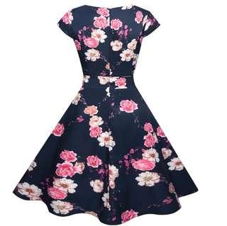 70145 #外貿復古印花短袖系帶大襬裙   颜色:圖片色  尺码:S M L XL 2XL