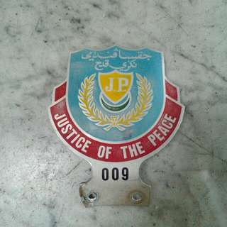 Justice Of The Peace 009 Car Badge Vintage