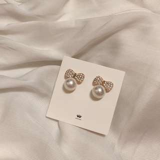 🚚 韓國🇰🇷 bling蝴蝶結珍珠耳環 全新耳環 #一百元好物