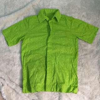 Kemeja Batik polos hijau pria cowo megamendung lengan pendek