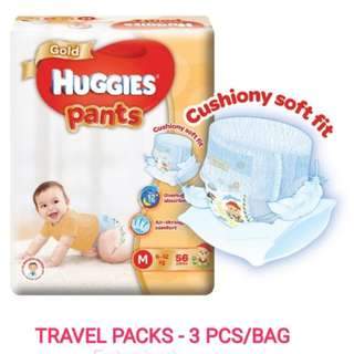 Huggies Gold Pull Up Pants (L/M) - Travel packs 3 pcs each with pouch