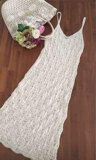 Lace crochet romantic full length/midi dress