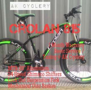 """MTB 26"""" CROLAN 815 Aluminium 24 Speed Shimano Shifters Lock Out Suspension Fork Mechanical Disc Brakes"""