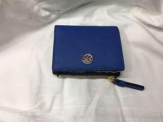 Tory Burch blue wallet 正方形藍色多間隔小銀包連散字包 (100% new)