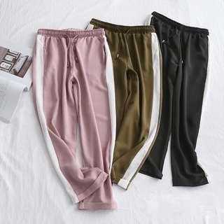 🚚 OshareGirl 05 歐美女士純色側條撞色緞面休閒長褲