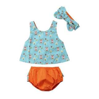 🚚 3 pcs Little Fox 🦊 Top, Bloomer and Headband