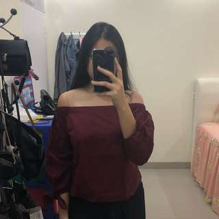 [Preloved] Maroon Sabrina