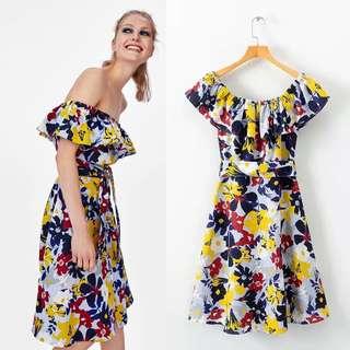 European Floral Print Shoulder Belt Dress