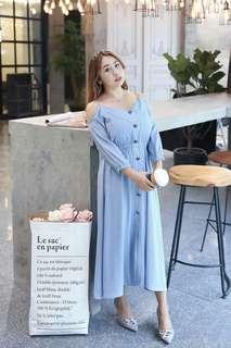 🐊Cold shoulder plus size button dress