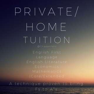Private IGCSE/O-Level Tuition