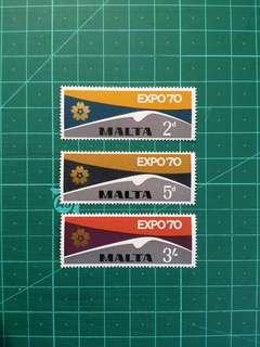 1970 英屬馬爾他 大阪世博 新票一套