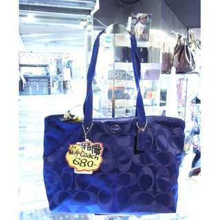 Coach Blue Nylon Shoulder Shopping Tote Hand Bag Handbag 藍色 尼龍 手挽袋 手袋 肩袋 袋 購物袋