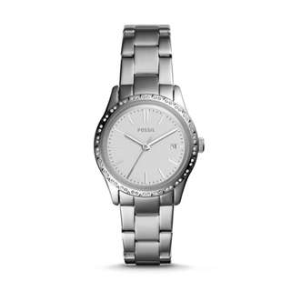 fossil. ADALYN THREE-HAND SILVER STAINLESS STEEL WATCH