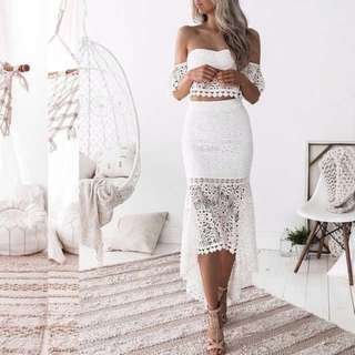Off shoulder white lace two piece mermaid skirt set